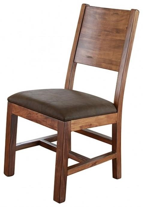 International Furniture Direct Parota Chair w/ Solid Wood Back & Faux Leather Seat - Item Number: IFD865CHAIR