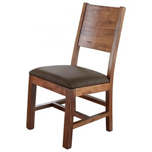 International Furniture Direct Parota Chair w/ Solid Wood Back & Faux Leather Seat