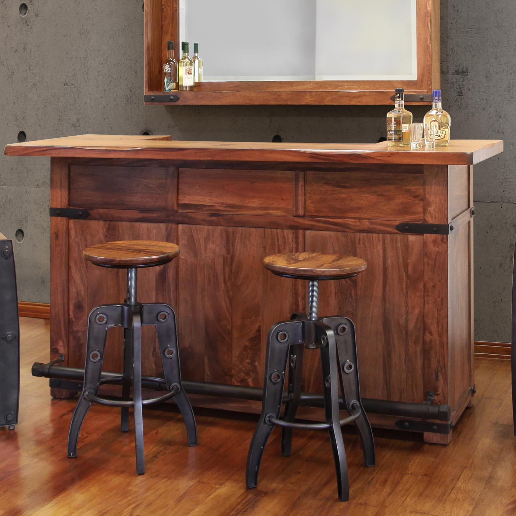 Wood Home Bar: International Furniture Direct Parota Wood Bar With Iron