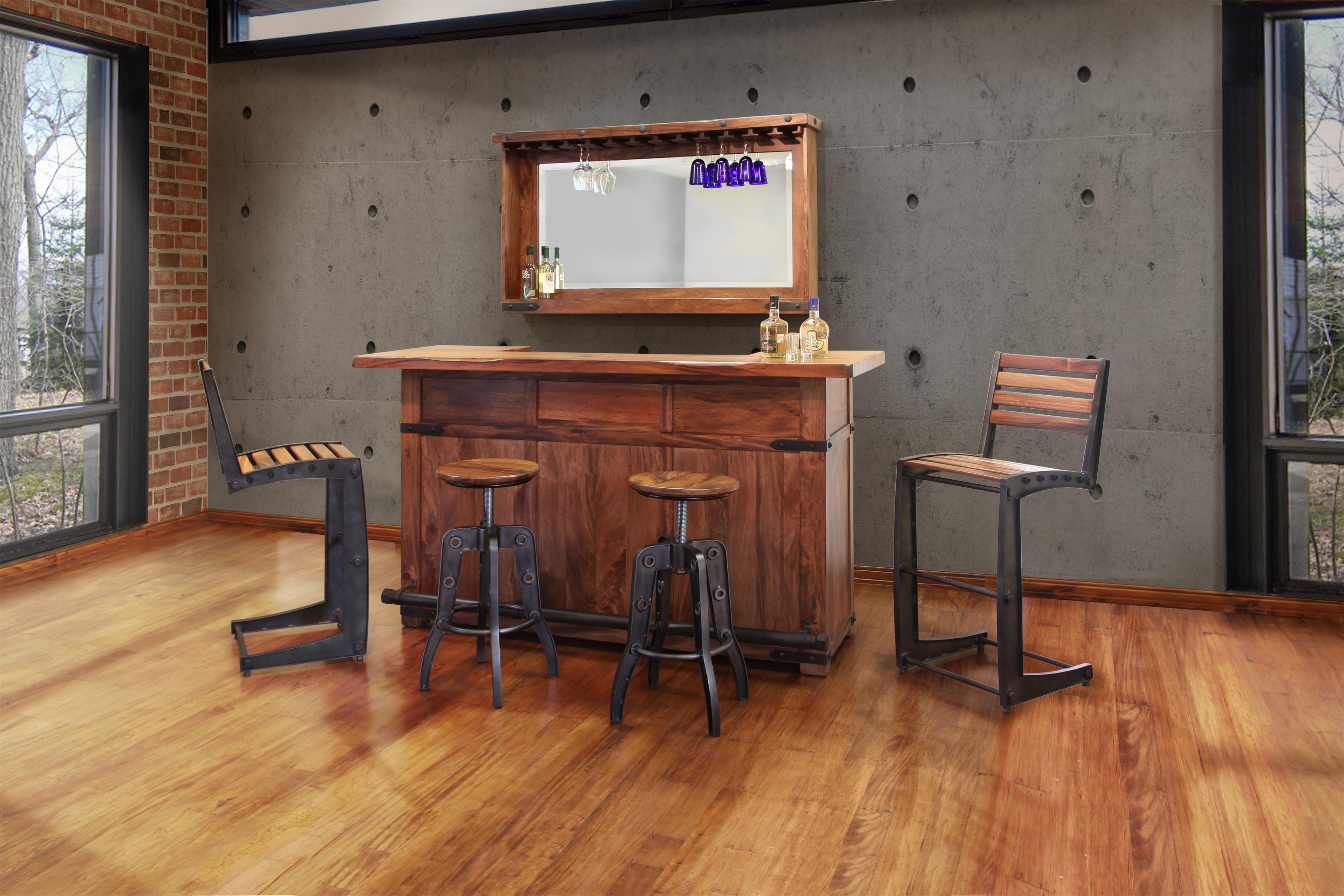 international furniture direct parota wood bar with iron