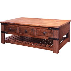 International Furniture Direct Parota Cocktail Table with 6 Drawers
