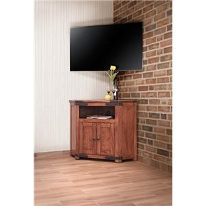 International Furniture Direct Parota 2 Door Corner TV Stand