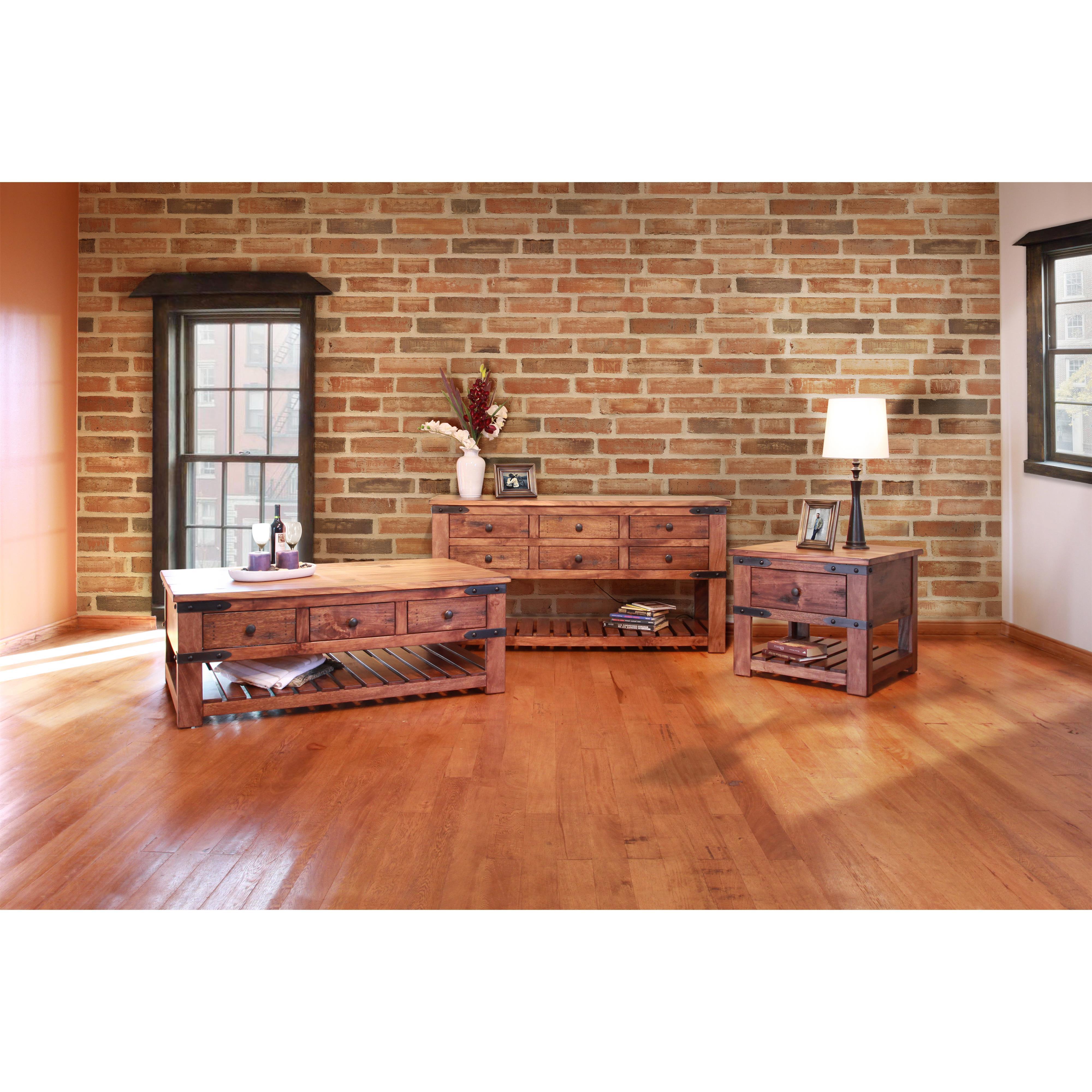 International Furniture Direct Parota Ifd866sofa Sofa Table With 6 Drawers Dunk Bright