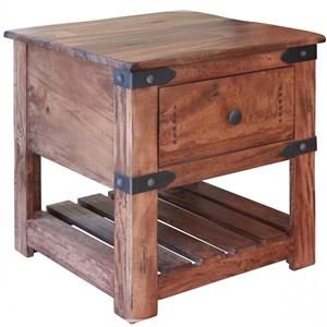 International Furniture Direct Parota 1 Drawer End Table