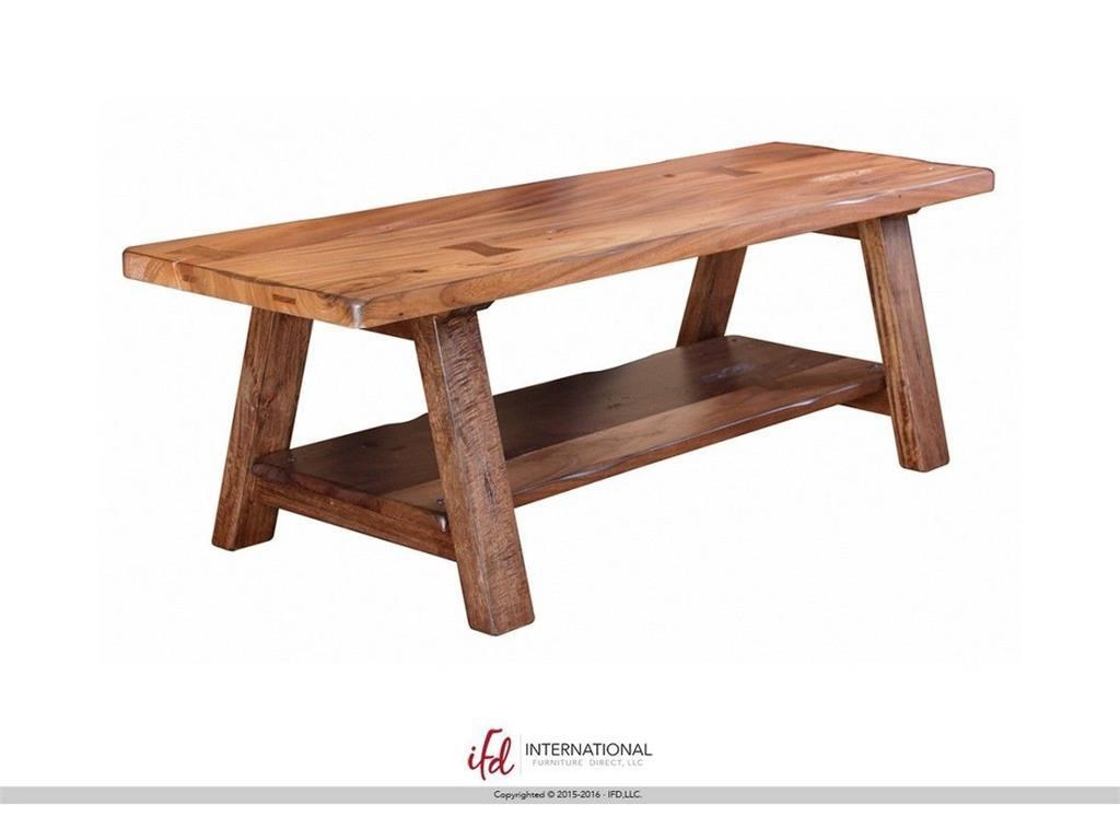 Wood Bench with Shelf
