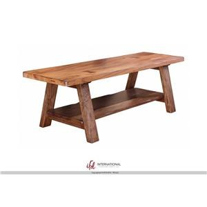International Furniture Direct Parota Wood Bench with Shelf