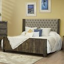 International Furniture Direct Sierra Queen Upholstered Bed - Item Number: IFD5901HBDQE+PLTQE
