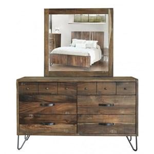 International Furniture Direct Taos Dresser and Mirror Set