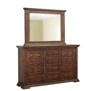 International Furniture Direct Terra Dresser and Mirror Set