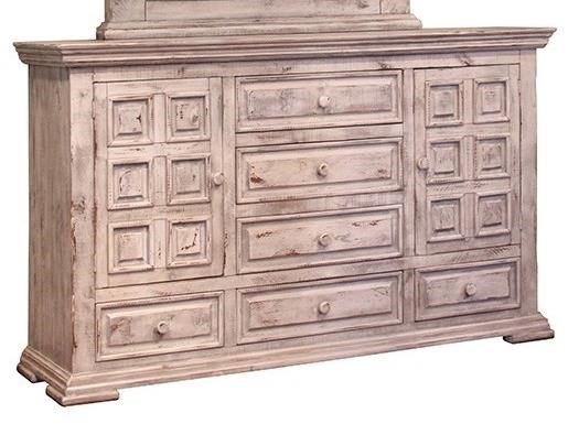International Furniture Direct Terra White Rustic Dresser with Six ...