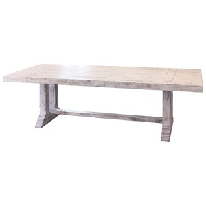 "International Furniture Direct Terra White 102"" Solid Wood Dining Table"
