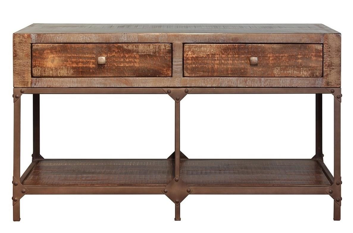 Urban Gold Sofa Table With 2 Drawers