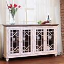 "VFM Signature Vintage White 70"" Console 4 Doors - Item Number: IFD923CONS-W"