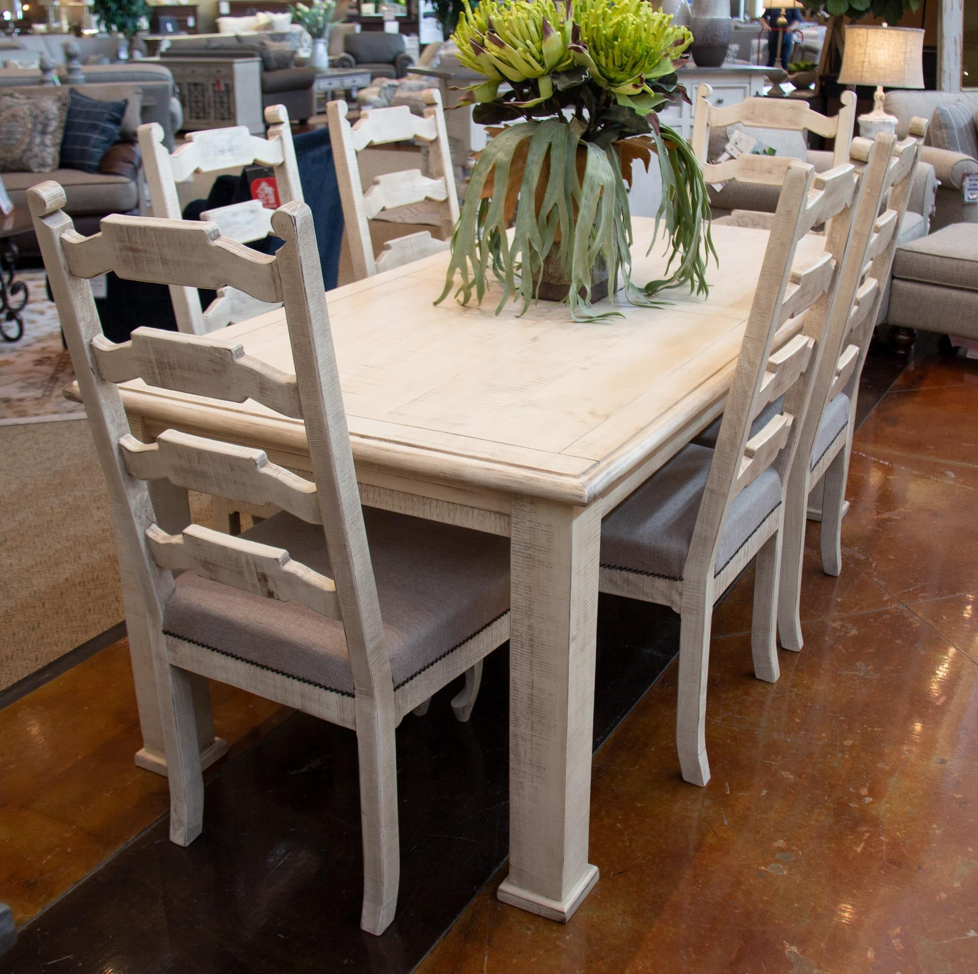 White Leg Table and 6 Side Chairs