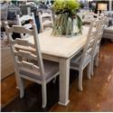 International Furniture Direct Vintage White Leg Table and 6 Side Chairs - Item Number: GRP-IFD923XX-LEGTBL-6