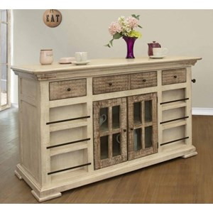 Kitchen Island with Bottle Rack and Shelves