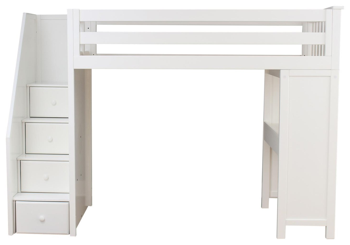 Brighton Twin Staircase High Loft Bed in Whi