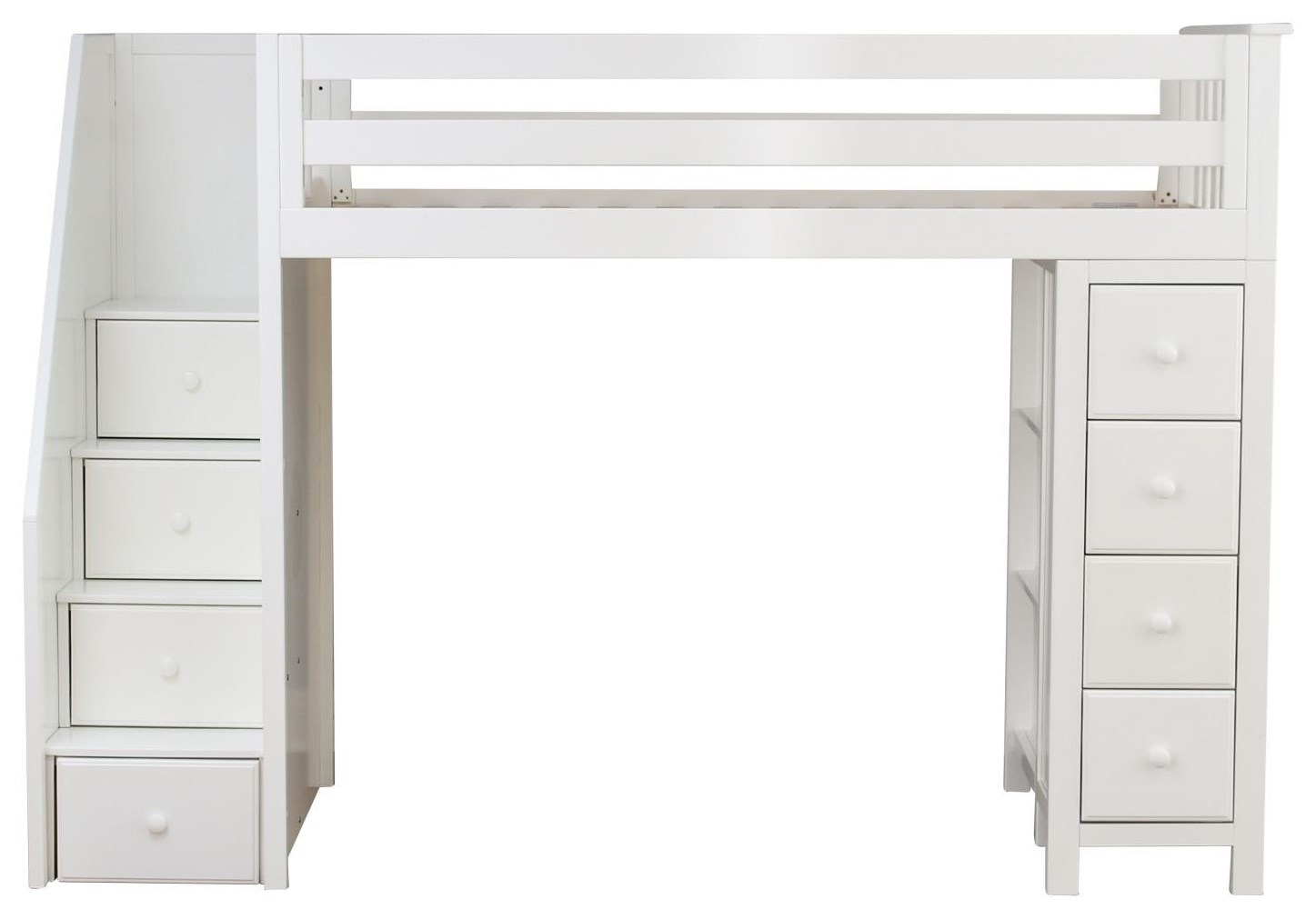 Oxford Twin Staircase High Loft bed in White
