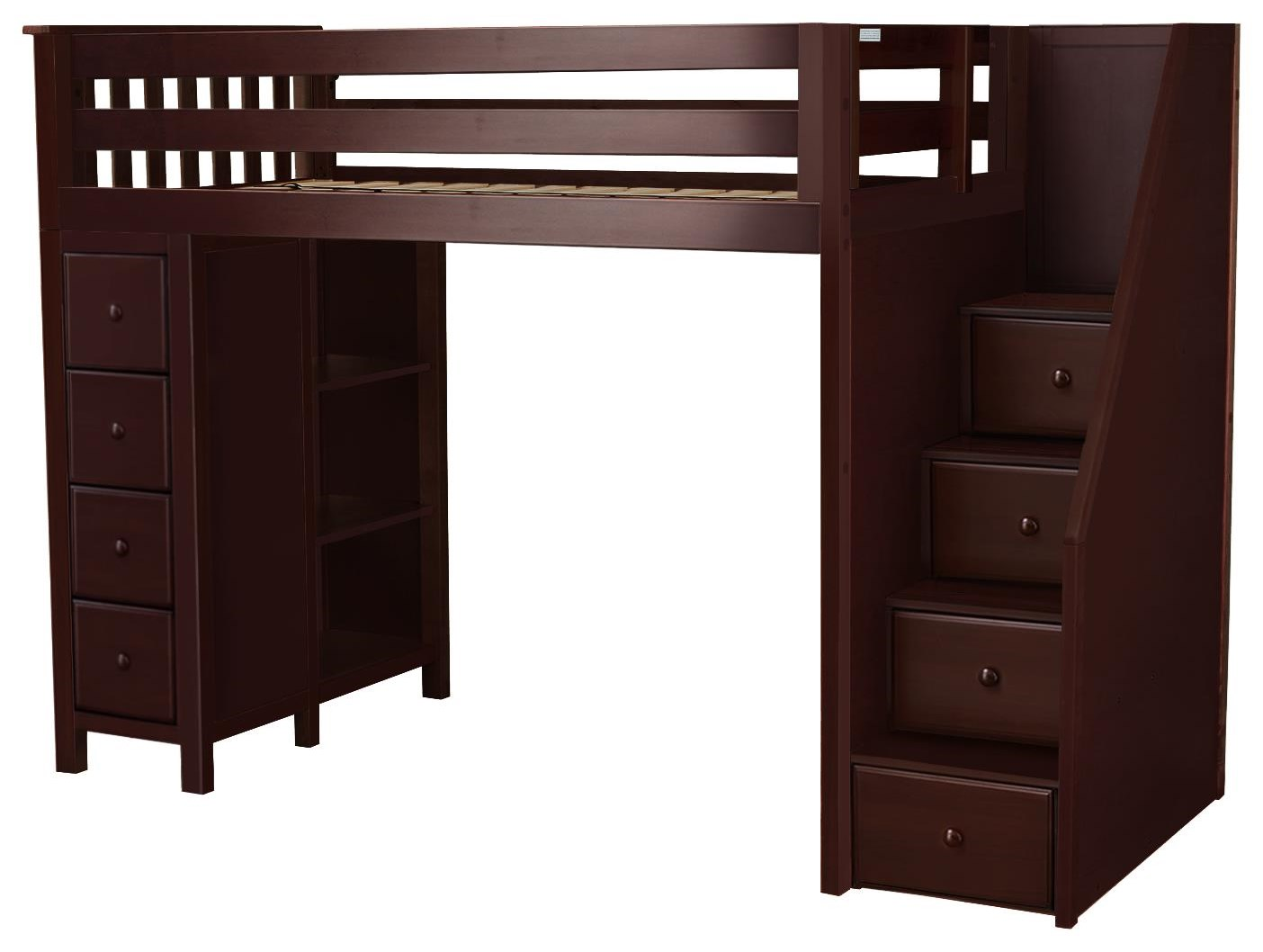 Oxford Twin Staircase High Loft Bed in Espre