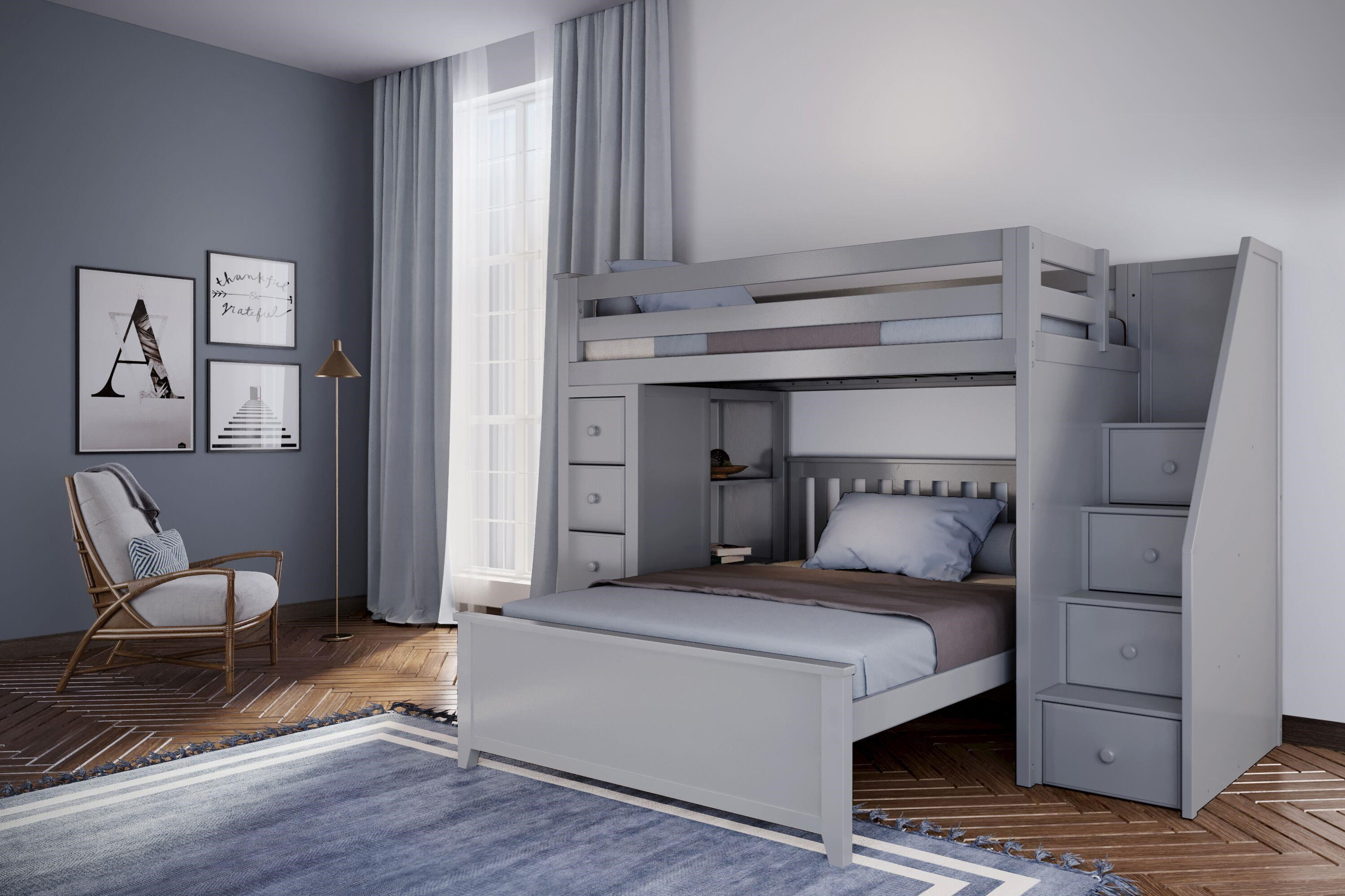 Picture of: Jackpot Kids All In Ones Oxford 1 Twin Staircase High Loft Bed In Grey W Dresser And Bookcase W Full Bed Belfort Furniture Loft Beds