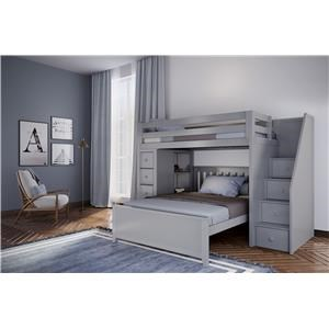 Oxford 1 Twin Staircase High Loft Bed Grey