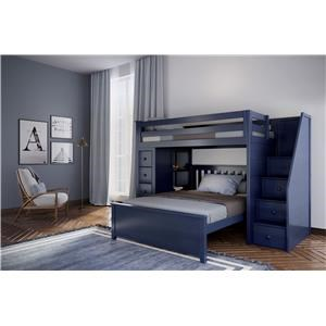 Oxford 1 Twin Staircase High Loft Bed in Blu