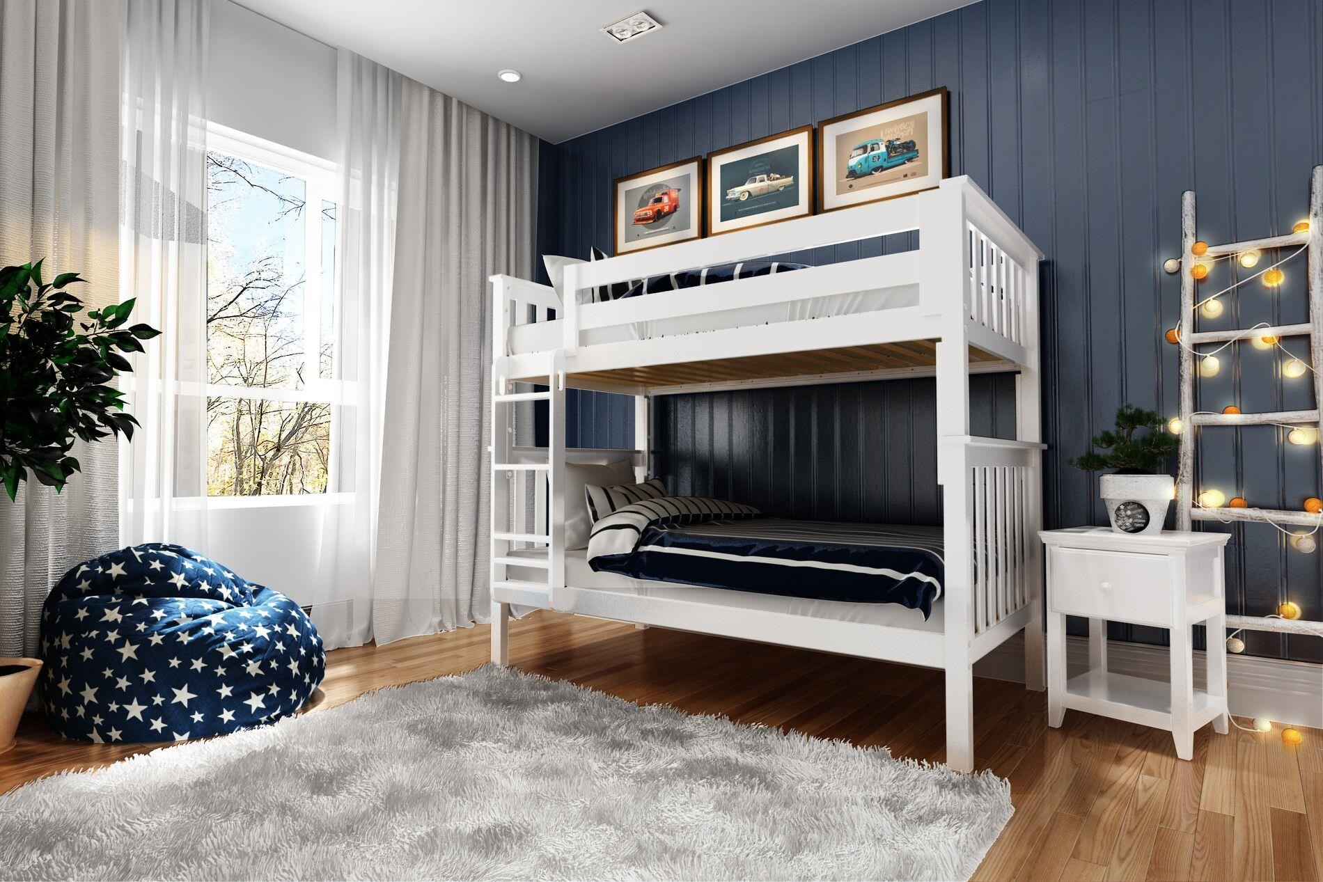 Picture of: Jackpot Kids Bunk Beds Bristol Twin Twin Bunk Bed In White W Straight Ladder Belfort Furniture Bunk Beds