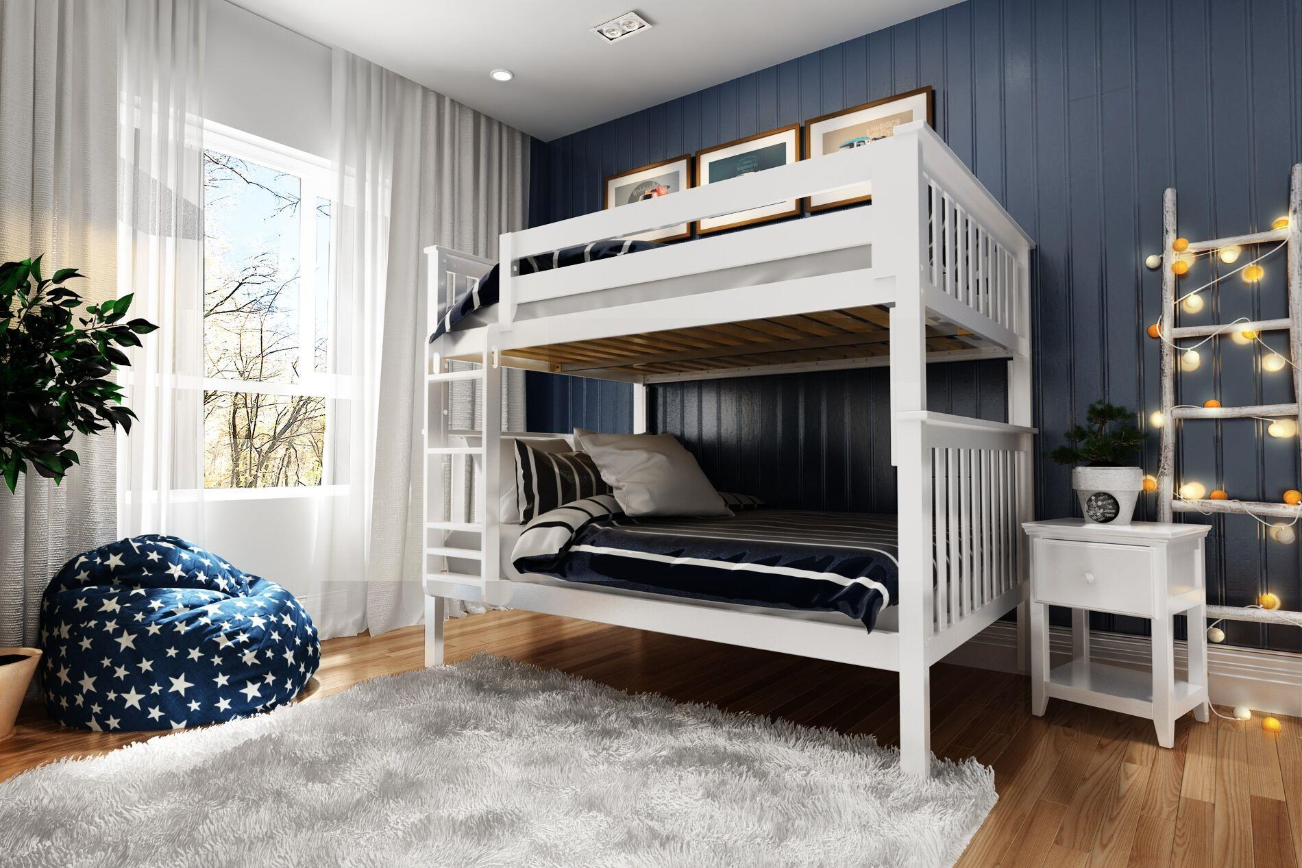Picture of: Jackpot Kids Bunk Beds Cambridge Full Full Bunk Bed In White W Straight Ladder Belfort Furniture Bunk Beds