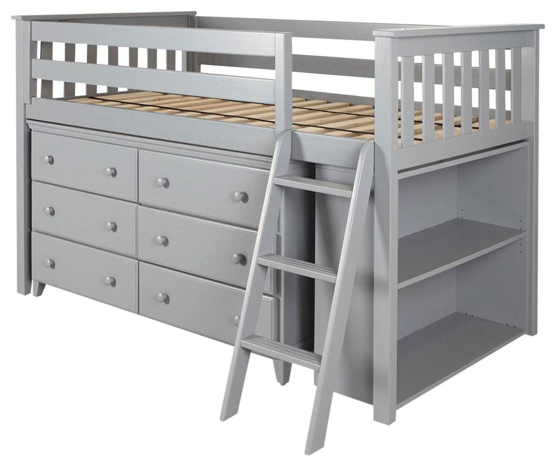 Picture of: Jackpot Kids Loft Beds Windsor Low Loft Bed In Grey W Angle Ladder W 6 Drawer Dresser And Bookcase Belfort Furniture Loft Beds