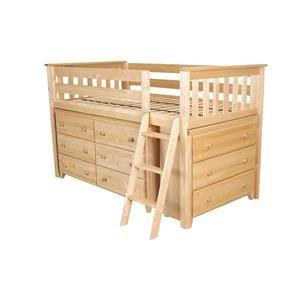Windsor 1 Low Loft Bed in Natural