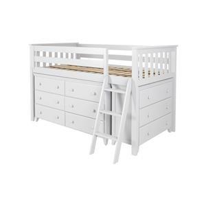 Windsor 1 Low Loft Bed in White