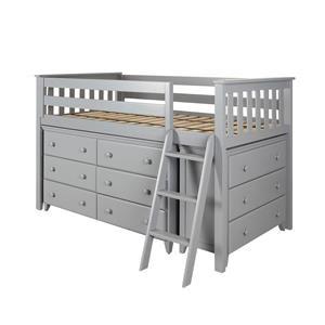 Windsor 1 Low Loft Bed in Grey