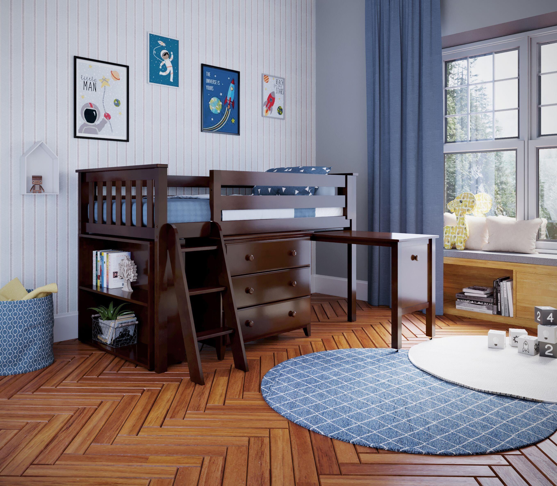 Picture of: Jackpot Kids Loft Beds Windsor 2 Low Loft Bed In Espresso W Angle Ladder W 3 Drawer Dresser Bookcase Pull Out Desk Belfort Furniture Loft Beds
