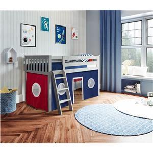 York 2 Low Loft Bed in Grey