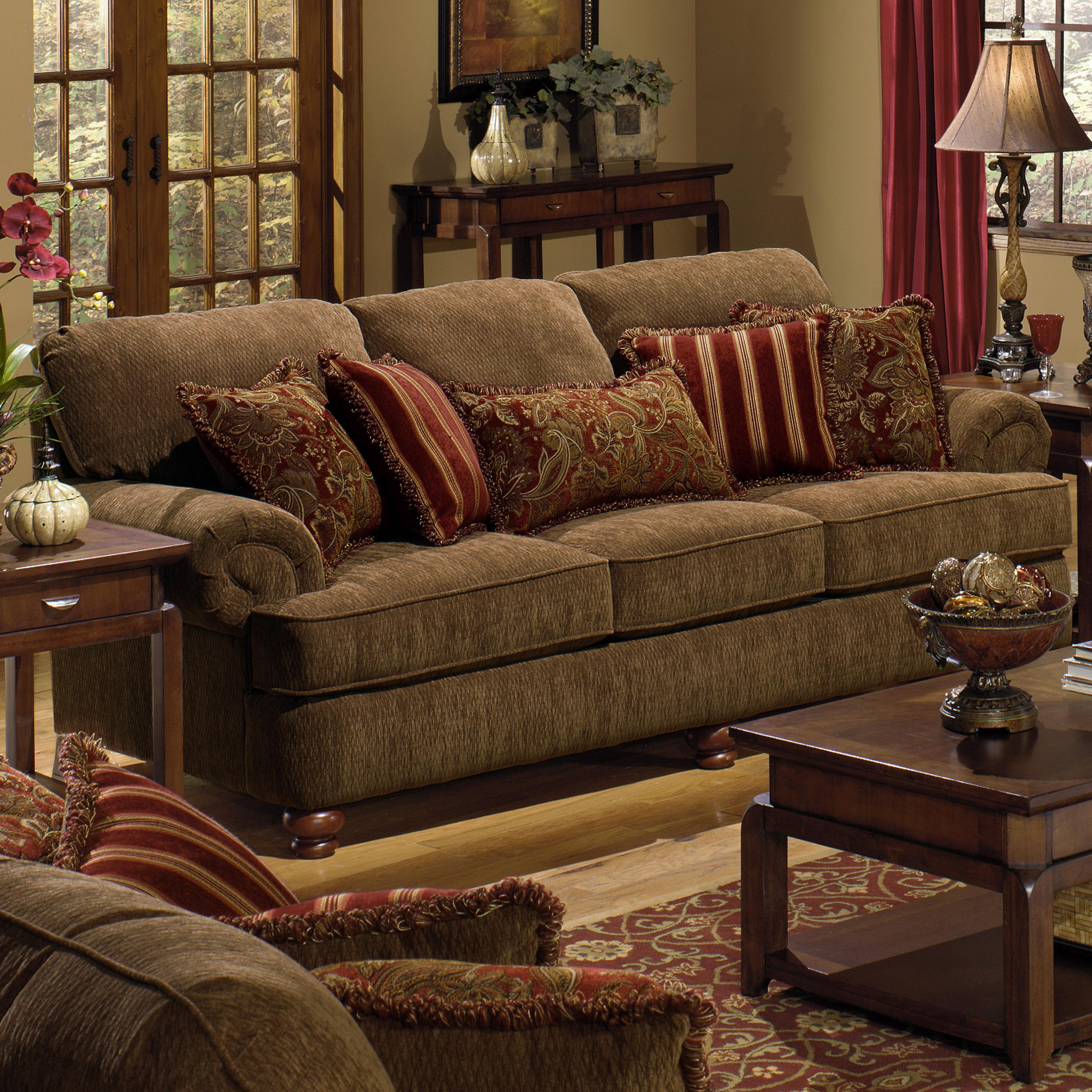 4347 belmont sofa with rolled arms and decorative pillows