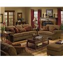 Jackson Furniture 4347 Belmont Sofa with Rolled Arms and Decorative Pillows - Shown with Loveseat, Chair and a Half, and Ottoman
