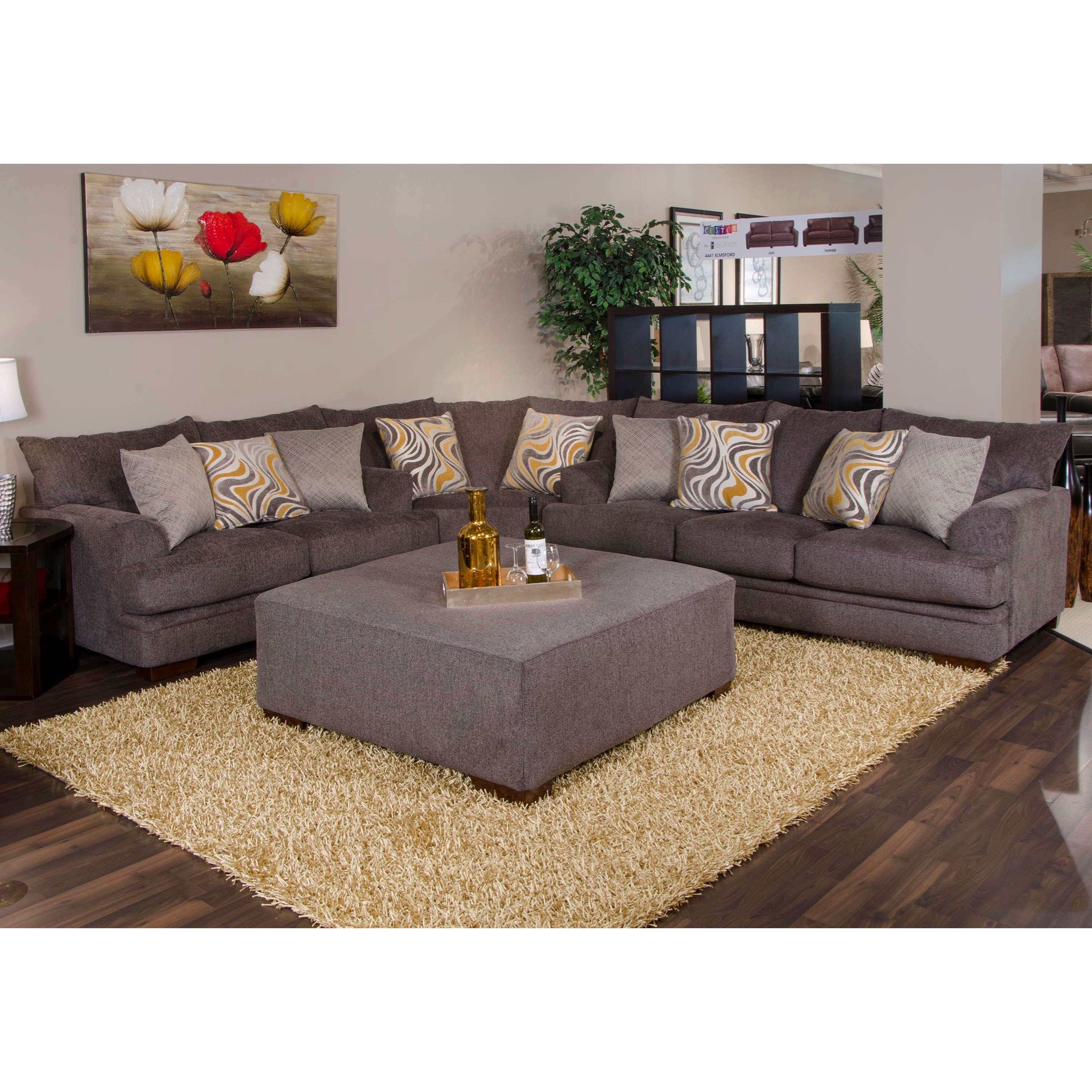 Charming Jackson Furniture Crompton Sectional Sofa With Casual Style   Item Number:  4462 02+