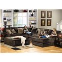 Jackson Furniture 4377 Everest Contemporary Upholstered Cocktail Ottoman - 4377-28-2334-09 - Shown in Living Room with Matching Sectional Sofa
