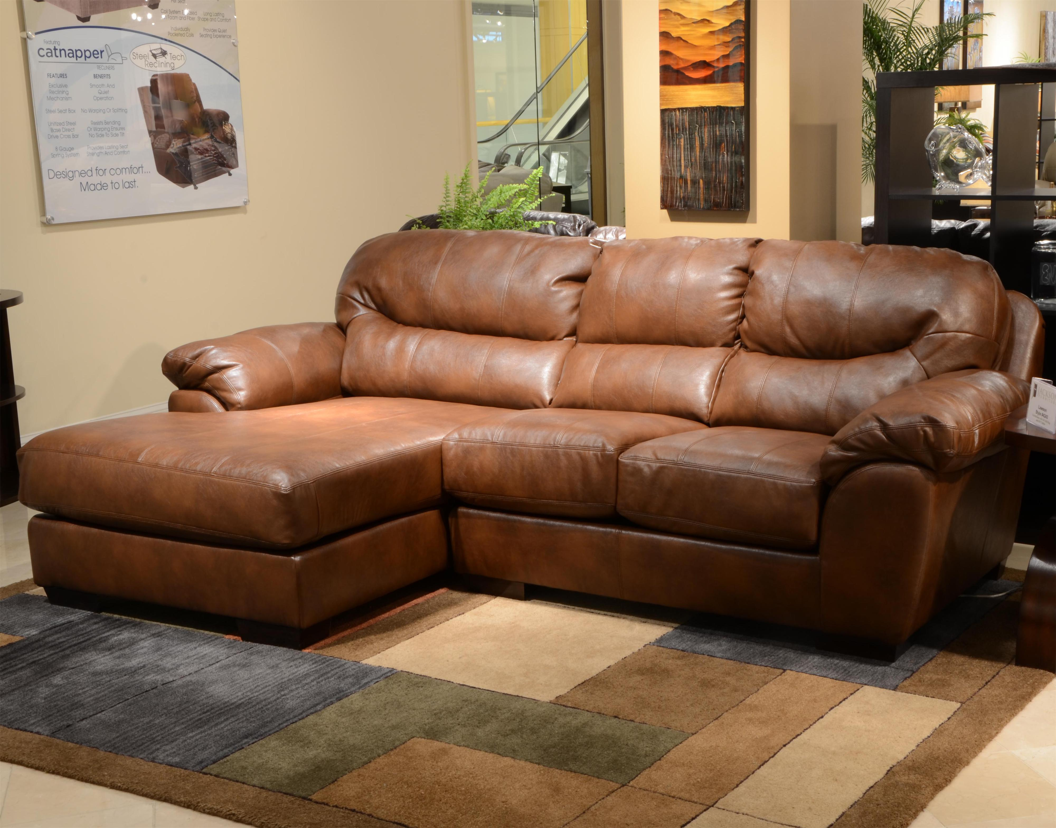 Jackson Furniture Lawson  Three Seat Sectional Sofa with Chaise - Item Number: 4243-75+42-Chestnut