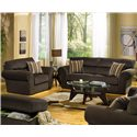 Jackson Furniture Mesa  Transitional Two-Seat Sofa - Shown in Room Setting with Chair, Ottoman and Love Seat