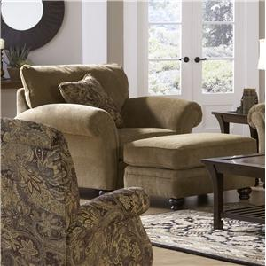 Jackson Furniture Suffolk  Traditional Chair and a Half and Ottoman