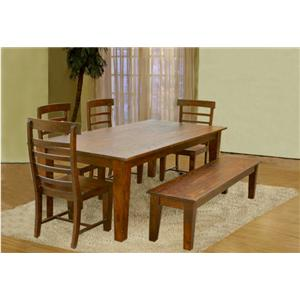 Jaipur Furniture Vienna Solid Wood Table, 4 Chairs, and Bench