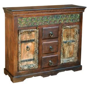 Jaipur Furniture Bikaner Distressed Reclaimed Wood Mango Wood 2 Door 3 Drawer Chest Sideboard