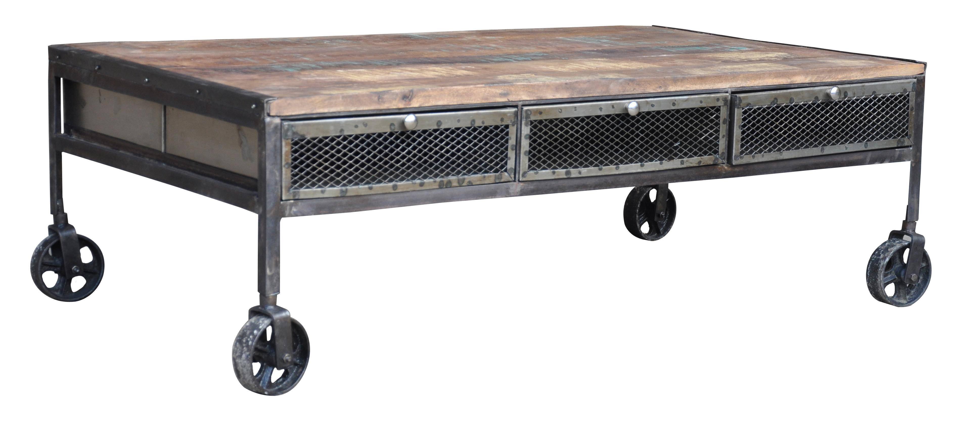 Jaipur Furniture Guru Industrial Wheeled Coffee Table FMG
