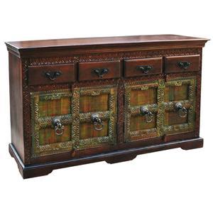 Maharaja Old Door Traditional Carved Trim 4-Drawer 4-Door Sideboard by Jaipur Furniture