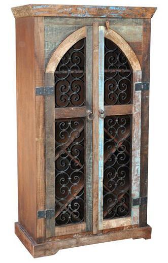 Jaipur Furniture Railroad Ties Traditional Scrolled Door Wine Cabinet