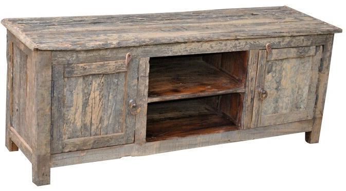 Jaipur Furniture Railroad Ties Reclaimed Wood 2 Shelf 2 Door Media Unit