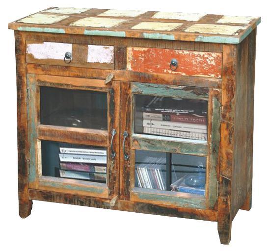 Kitchen Garden Jaipur: Jaipur Furniture Sawan Rustic Hand Painted 2-Drawer 2-Door