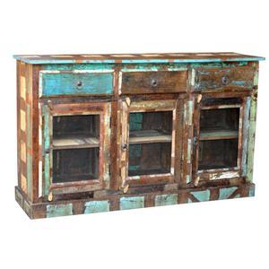 Jaipur Furniture Sawan Distressed Solid Wood 3 Drawer 3 Door Bookcase Sideboard Fmg Local
