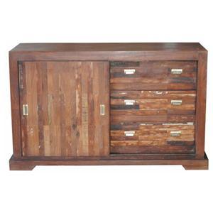 Jaipur Furniture Vintage Distressed Solid Wood 3 Drawer 2 Door Sideboard Fmg Local Home